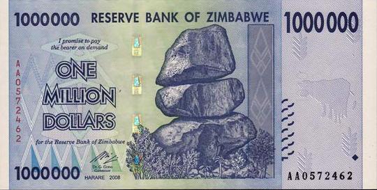 Образцы купюр и монет разных стран - Доллар Зимбабве - Валюта